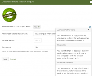Mahara licence display