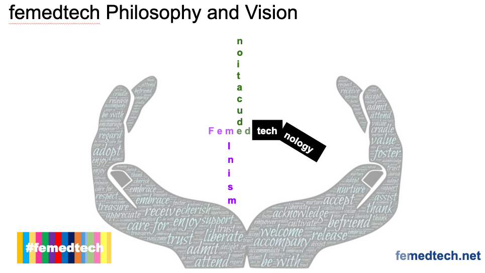 A pair of hands holding up femedtech, highlighting feminism, education and technology